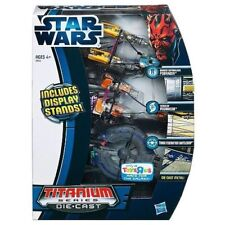 STAR WARS 3 DIECAST METAL TITANIUM SERIES SET ANAKIN SEBULA PODRACER BATTLESHIP