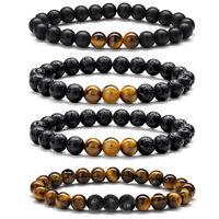 8mm Natural Tiger Eye Lava Rock Stone Mens Bracelets Oil Diffuser Bracelets Set