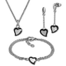 Amello Edelstahlschmuckset Herz schwarz Keramik Kette Armband Ohrring ESSX33S