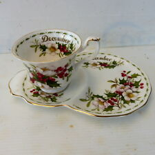 * TASSE A THE ET SA SOUCOUPE DUO ROYAL ALBERT MOIS DE DECEMBRE ROSE DE NOEL 1970