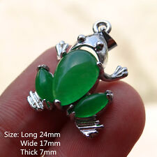 Silvering Stainless Steel Green Natural stone Jade Pendant - Frog / Toad