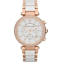 Michael Kors Parker Rose Gold-Tone White Acetate Chronograph Ladies Watch MK5774