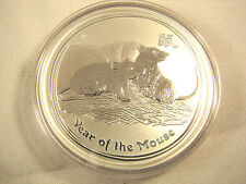 2008 1 Oz Silver Australia Lunar Coin Series II Year of the Rat Mouse