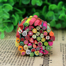 50Pcs 3D Fruit Fimo Polymer Clay Stick Cane Rods Nail Art Tips DIY Deco STT