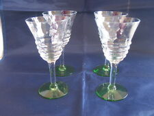 Depression Era Sherry Wine Glasses Goblets Set of Four Diamond Optic Green Foot