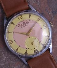 Omikron 50s Vtg Art Deco 2 Tone Dial 36mm Steel Case 21j AS 1130 Runs New Band