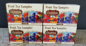CELESTIAL SEASONINGS FRUIT TEA SAMPLER~5 FLAVORS~CAFFEINE FREE~4x18= 72 TEA BAGS