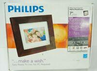 Phillips SPF3470T/G7 7 Inch Digital Photo Frame LCD Panel Brown Wood Frame