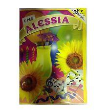 Tarjeta de cumpleaños musical genérico canta nome ALESSIA y FELIZ En TE