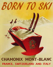 Vintage PLM FUNICULAIRE Chamonix Le Brevent Skiing//Travel Poster A1A2A3A4Sizes