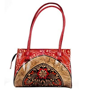Pure Leather Handbag Shantiniketan Boho Ethnic Batik Red Satchel Banjara Painted