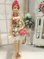 OOAK HANDMADE DOLL CLOTHES FASHIONISTA FLOWERS & ROSES DRESS OUTFIT SET