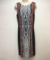 Joseph Ribkoff Dress US 10 UK 12 Black White Red Geometric Print Sleeveless