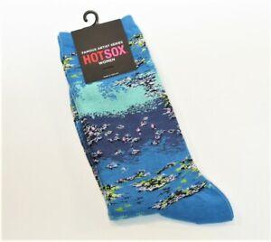 Hot Sox Ladies Cotton Blend Socks Art Series Monet's Water Lilies Blue