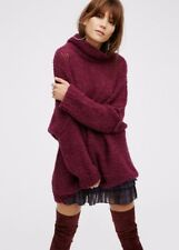 NEW Free People plumy wine Alpaca Mock Turtleneck Oversize Pullover Sweater XS