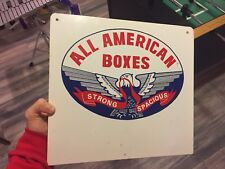Vintage All American Boxes Flange Steel Sign Strong Spacious Bald Eagle Graphic