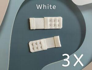 3X White Elastic Long Bra Extender Strap 2 Hooks Maternity Extension Clips Hook