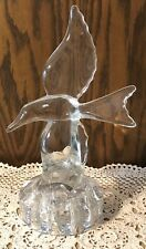 "Dolphin Clear Glass Heavy 11"" Statue With Frog For Flower Watering"