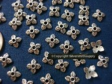 Bead caps 100 pcs antique silver plated 6-8mm filigree 4 leaf design caps fpb208