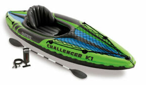 Intex Challenger K1 Inflatable 1 Person Kayak Canoe with Aluminum Oars & H Pump