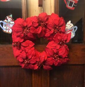 "17"" Diameter Sparkling Glittered Red Poinsettia Christmas Wall Door Wreath"