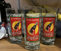 "Vintage Anchor Hocking Coca-Cola Glass Tumbler ""It's the Real Thing"" set of 3"