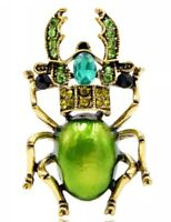 Beetle Bug Green Body and Crystals Gold Vintage Pin Brooch D-6602