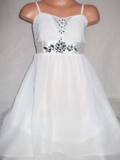 GIRLS CREAMY WHITE SATIN DIAMONTE TRIM LACE CHIFFON PRINCESS PARTY DRESS age 5-6