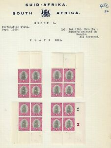 South Africa 1950 1d Ship Group 6, Plate XXII Marginal Blocks on Page Fine Mint