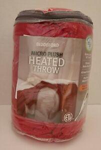 BIDDEFORD RED MICRO PLUSH HEATED THROW BLANKET BRAND NEW