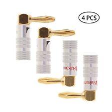 4PCS Right Angle Speaker Banana Plugs 90°Degree 24K Gold Plated Audio Jack Co...