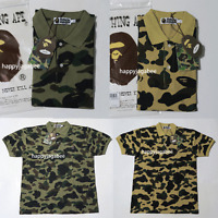 (S-3XL)ONLINE EXCLUSIVE A BATHING APE Men's 1ST CAMO APE HEAD ONE POINT POLO New