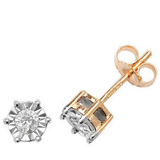 Diamond Solitaire Earrings Yellow Gold 0.20ct Illusion Set Appraisal Certificate