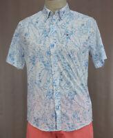 Tommy Hilfiger Men's Blue Cotton Short Sleeve Button Up Shirt Ret $69.50 New
