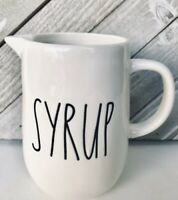 """Rae Dunn """"SYRUP"""" Pitcher Ceramic White Large Letter New"""