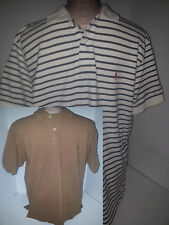 Lot 2 Ralph Lauren Polo Rugby Mens Short Sleeve Shirts M Medium Blue White Brown