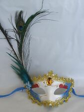 Gold Red & Blue Masquerade Mask with Peacock Feathers - Gold Centre, Blue Flower