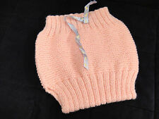 Handmade Knit Vintage Pink Baby Diaper Cover Infant Girl Pants ca 1940s