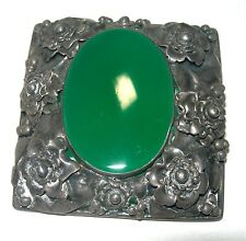 LARGE ANTIQUE EARLY SIGNED HOBE GREEN AGATE STERLING SILVER FLOWER BROOCH PIN