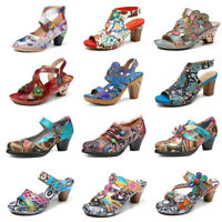 SOCOFY Women's Summer Bohemia Genuine Leather Shoes Flowers Pattern Sandals