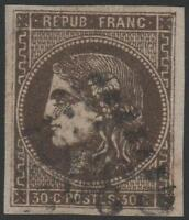 "FRANCE STAMP N° 47 b "" CERES EMISSION BORDEAUX 30c BRUN NOIR"" OBLITERE TTB J837"