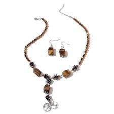 Tigers Eye,Hematite,Simulate Smokey Quartz Stainless Steel Earrings Necklace Set