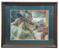 """JT Ward After Degas """"Before the Mirror"""" Pastel Drawing Painting Woman Vanity 31"""""""