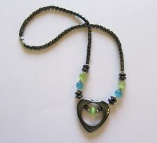 Fashion Necklace -Hematite- heart pendant green & blue  beads-gray shade