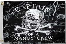 """Captain of a Mangy Crew 12X18"""" Pirate Boat Flag New Jolly Roger"""