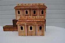 7 BLUEBIRD BIRD HOUSES NEST BOX CEDAR SHAKE ROOF PETERSON OVAL OPENING FREE S/H