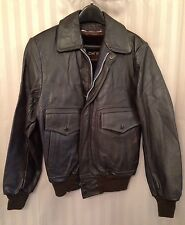 1960s BROWN LEATHER FLIGHT JACKET, MR. OH'S, OSAN, KOREA, ADULT SMALL, VINTAGE