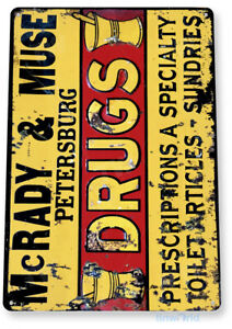 TIN SIGN McRady & Muse Drugs Sign Tin Metal Sign Drug Store Retro Decor B177