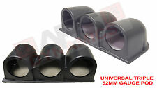 Universal DashBoard Triple 52mm Gauge Pod Cluster Black Unpainted Plastic