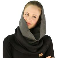 Winter Ombre Soft Pullover Knit Single Loop Tube Infinity Hood Cowl Scarf Black